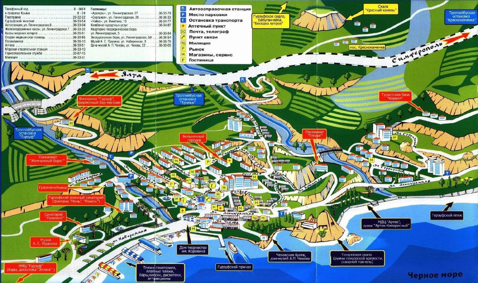 Подробная карта Гурзуфа