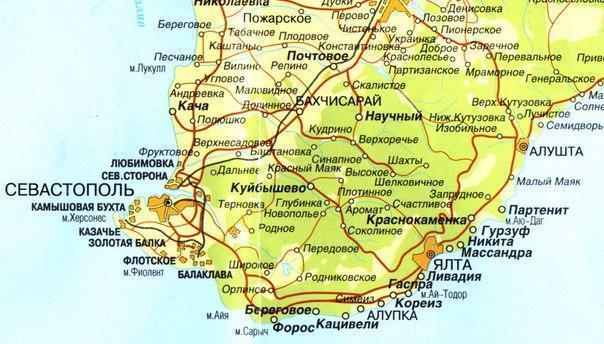Балаклава на карте Крыма