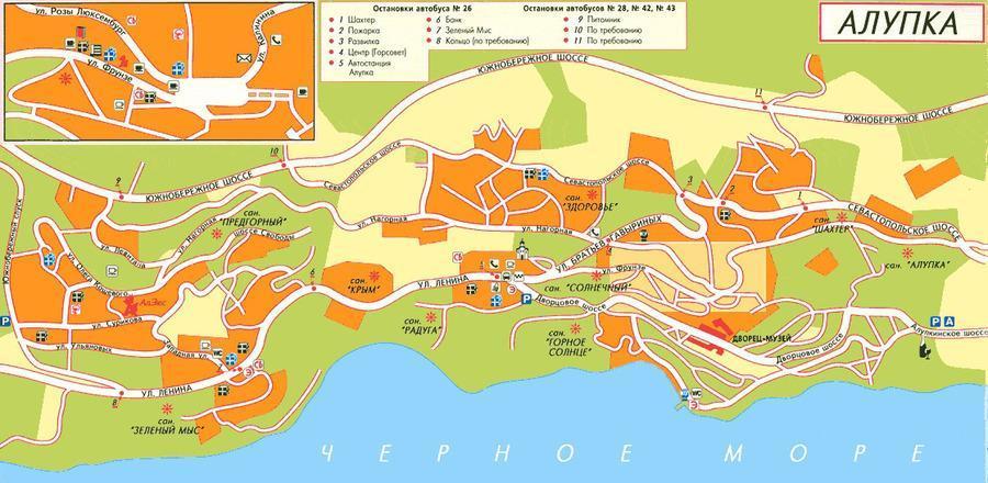 подробная карта Алупки