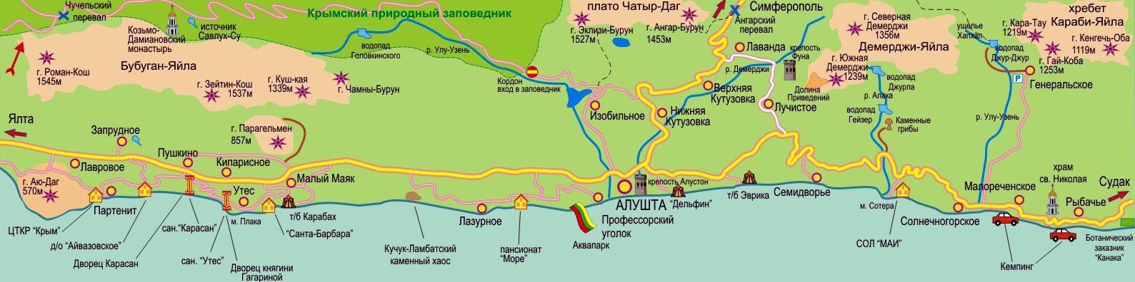 карта Алуштинского побережья