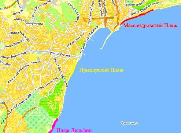 пляжи Ялты на карте