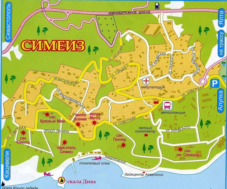 Карта Симеиза с пляжами