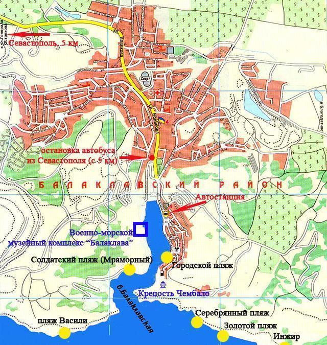 карта пляжей Балаклавы