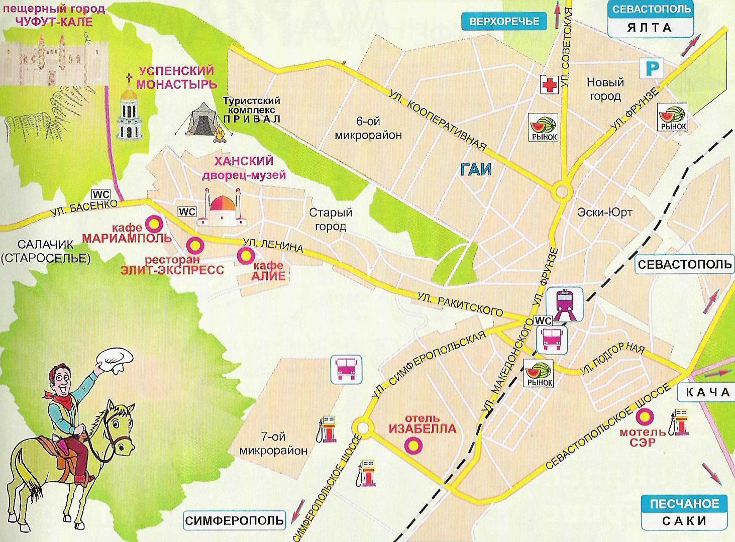 Достопримечательности Бахчисарая на карте