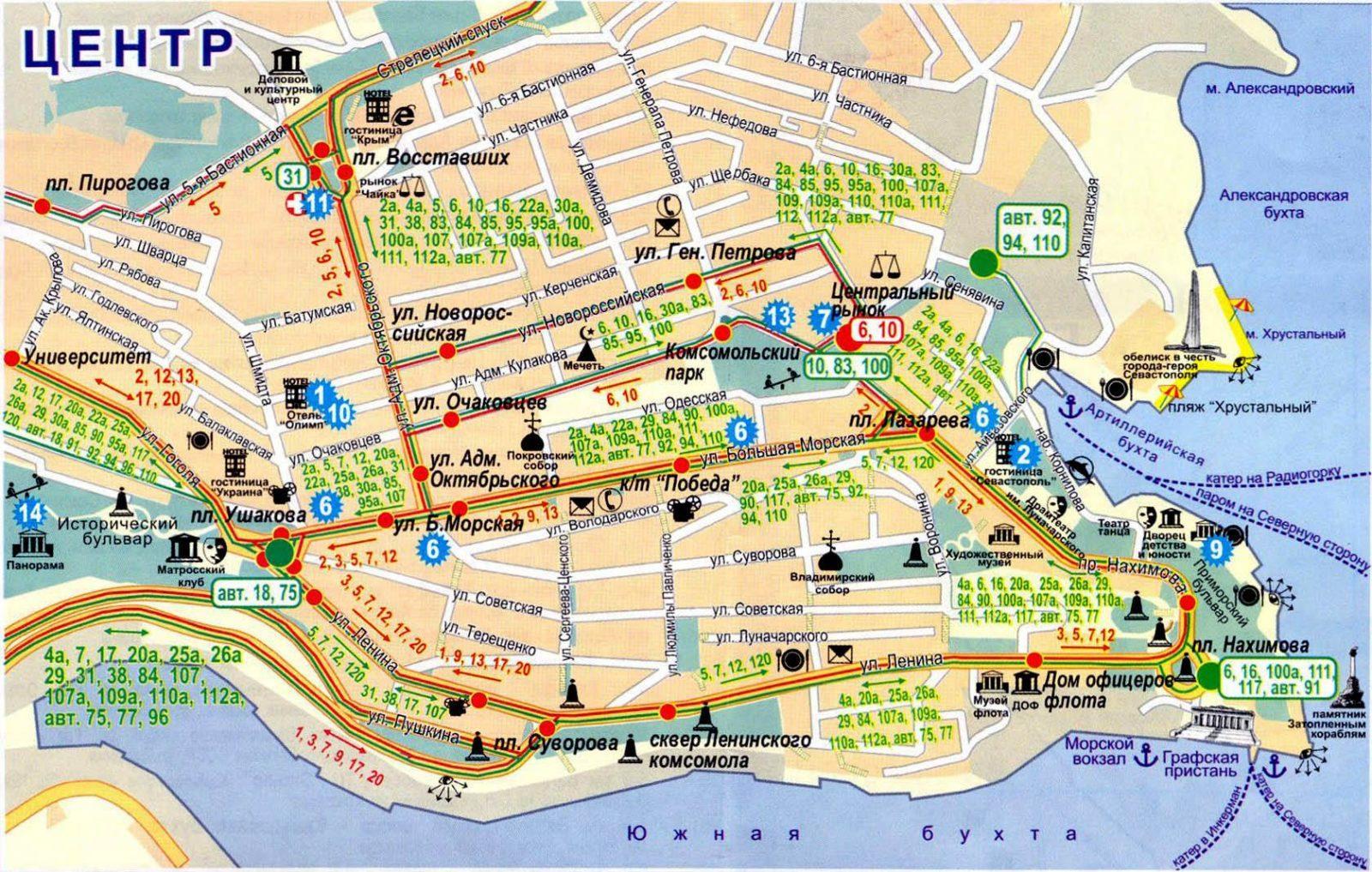 карта центра Севастополя с достопримечательностями